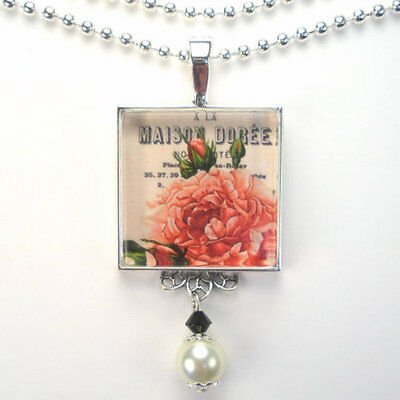 """French Garden Rose Flower """"vintage Charm"""" Silver Or Bronze Pendant Necklace"""