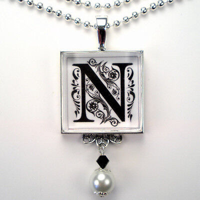 Initial Letter N Monogram Vintage Charm Silver Or Bronze Pearl Pendant Necklace
