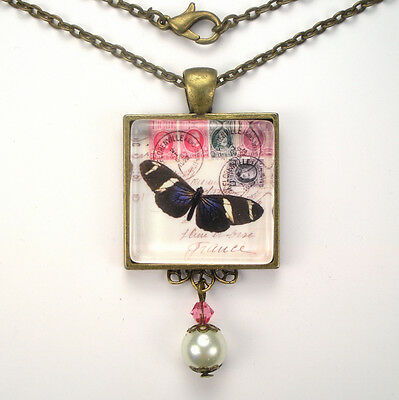 "French Letter Stamp Butterfly ""vintage Charm"" Bronze Or Silver Pendant Necklace"