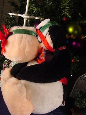 BLOOM COUNTY 1985 Plush Penguin OPUS wrapped in Christmas RIBBON  Bow on NOSE