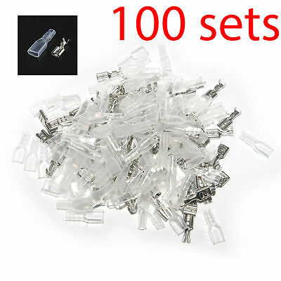 US Stock 100 sets 4.8mm Crimp Terminal Female Spade Connector + Case Total