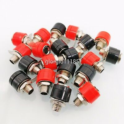 US Stock 20x 4mm Banana Plug Female Jack Socket Speaker Connector Red Black 312A