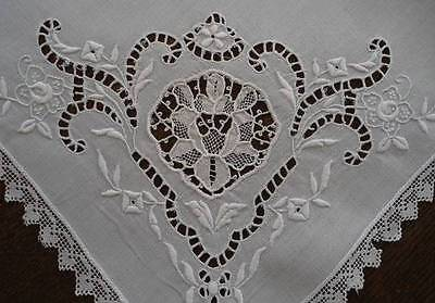 Large Antique Linen Napkins Italian Embroidery Point de Venise Lace