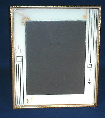 Vintage ART DECO Picture Wood Frame Reverse Painted Mirror Gold Trimmed No. 4