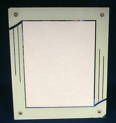 Vintage ART DECO Picture Frame Reverse Painted Glass Mirror Trimmed No. 2