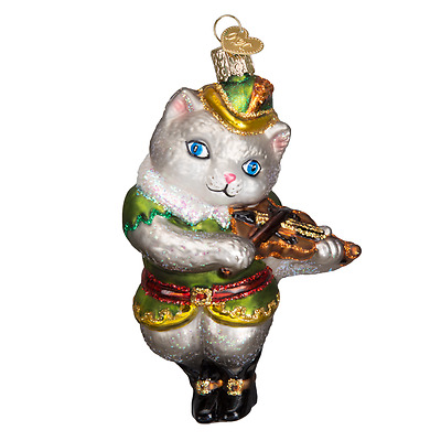 """Cat and the Fiddle"" (12451) Old World Christmas Glass Ornament w/OWC Box"