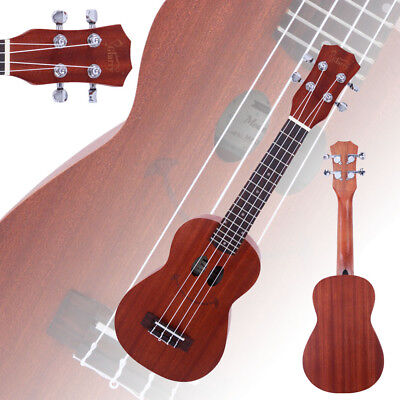 "New Smile Pattern 21"" Sapele Wood Soprano Ukulele 4 Strings Hawaiian Guitar"