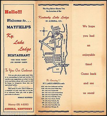 Vintage menu MAYFIELDS KY LAKE LODGE RESTAURANT Aurora Kentucky with map exc
