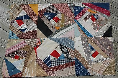 Antique Crazy Quilt Madder Indigo Blue Calico Piece Repurpose