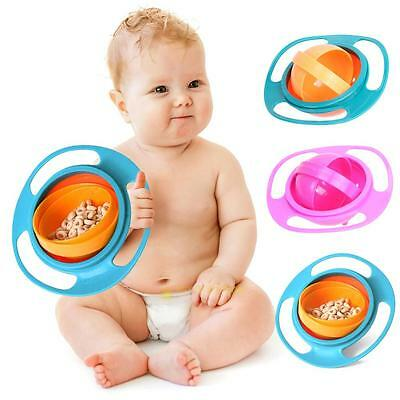 Baby Kids Infant Feeding Dishes Gyro Bowl Universal 360° Rotate Spill-Proof Bowl