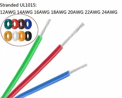Stranded UL1015 Cable Auto Electrical Equipment Wire 600V 105°C 12AWG - 24AWG