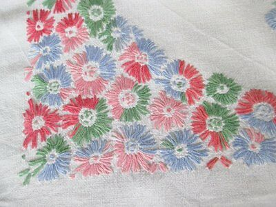 VINTAGE TABLECLOTH HAND EMBROIDERED with COLOURFUL FLOWERS - LINEN
