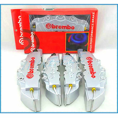 Silver Disc Brake 3D Cars Parts Caliper Covers 4pcs Front & Rear Universal New
