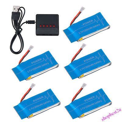 5pcs 1200mAh Lipo Batteries+5in1 3.7V USB Charger for Syma X5SC X5SW Quadcopter