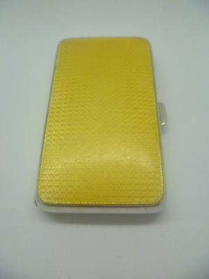 Art Deco Silver & Yellow Guilloche Enamel Ladies Cigarette Case Hallmarked 1928