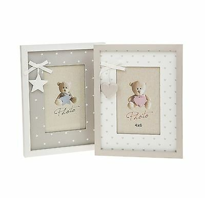 """Hearts or Stars Baby Photo Frame 4"""" x 6"""" Each Sold Individually"""