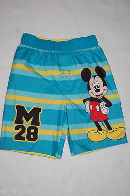 Toddler Boys Swim Trunks MICKEY MOUSE Net Lining TEAL AQUA YELLOW Striped 4T