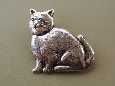 Vintage Solid Silver Sterling 925 Cat Pin Brooch