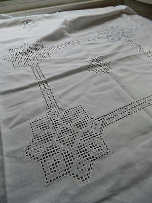 Vintage Irish linen tablecloth and six matching napkins with hand embroidery.