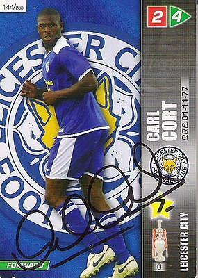 A Panini 2008 card. Personally signed by Carl Cort of Leicester City.