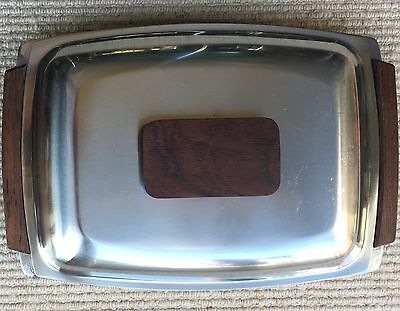 Vintage 3 Sectional Stainless Steel & Rosewood Lidded Serving Dish Retro