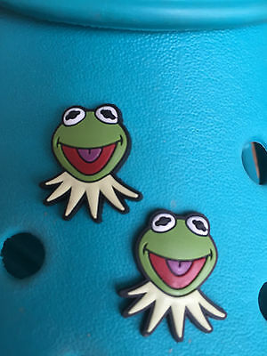 2 Kermit Muppets Shoe Charms For Crocs & Jibbitz Wristbands.