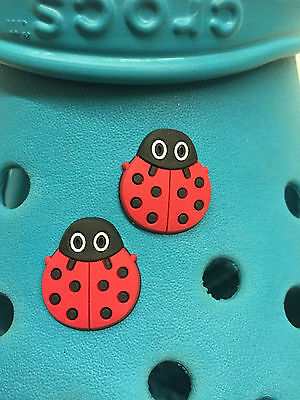 2 Ladybird Shoe Charms For Crocs & Jibbitz Wristbands.