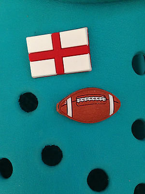 2 England Rugby Shoe Charms For Crocs & Jibbitz Wristbands.