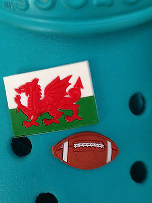 2 Welsh Rugby Shoe Charms For Crocs & Jibbitz Wristbands.