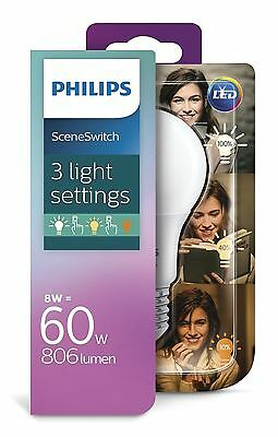 Philips 3-in-1 LED Lampe SceneSwitch 8=60W A+ Standardform Dimmen ohne Dimmer