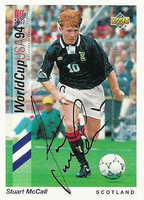 An Upper Deck World Cup USA 1994 card signed by Stuart McCall of Scotland.