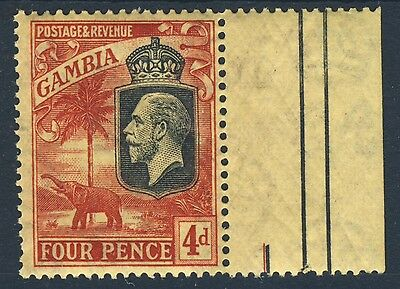 GAMBIA King George V 1927 4d. Red & Black on Yellow Mult Script CA SG 129 MNH