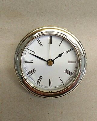 "CLOCK INSERT White Dial,easy to read ROMAN numbers,Fit up 3 1/8"" dia, NEW #CUS-R"
