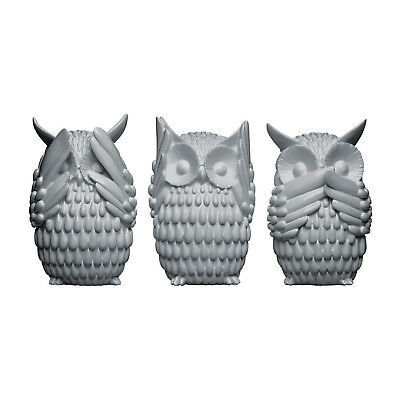 3 Polyresin Grey High Gloss Hear See Speak No Evil Wise Owls Sculptures Set New