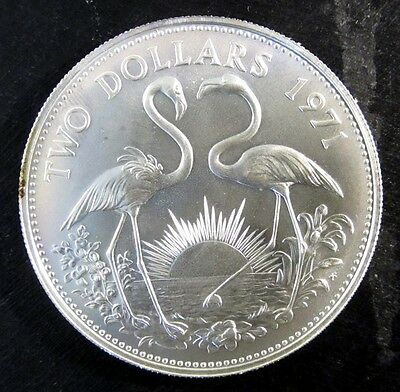 1971 Bahamas $2 Sterling Silver 0.8862 ASW