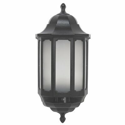 Black LED Half Lantern with Dusk to Dawn Photocell - Outside Wall Light Fitting