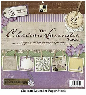 "DCWV 12""x12"" Cardstock Stack CHATEAU LAVENDER ~PRINTS  Whimsical, ~ PS-005-00201"