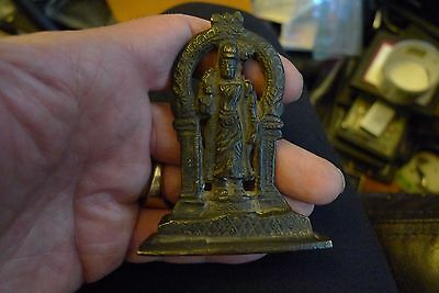 Very Early Antique Bronze Goddess With Bird Figure Hindu Statue No Reserve