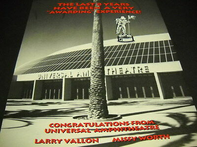 UNIVERSAL AMPHITHEATRE and MTV 8 Years Of Awarding... 1991 PROMO POSTER AD