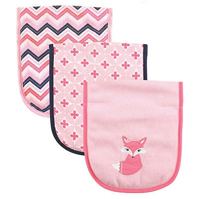 """Luvable Friends Baby Girls """"foxy"""" Burb Cloth Set Of 3 New"""
