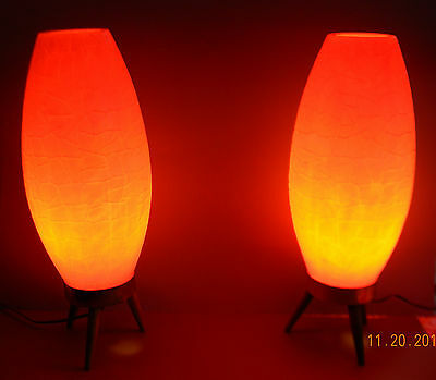 Vintage Mid-Century Atomic Tripod Beehive Rocket Lamps  Orange Matched Pair
