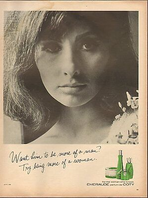 1965 vintage fragrance AD EMERAUDE Perfume by COTY , sultry model  121916