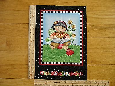 "Reading Fairy Headband Flowers Strawberry Cotton Quilt Fabric Block 9"" x 7"""