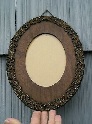 OLD Art~CraftS Victorian Soot Finish Oak Oval Gately~Fitzgerold Picture Frame