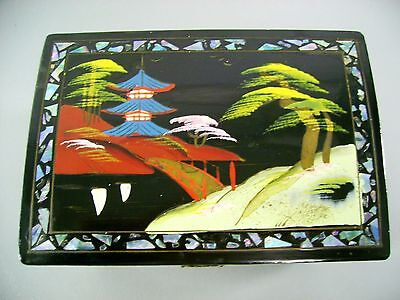 Black Lacquer Ware Enamel Musical Trinket Jewelry Box Old Antique Asian Japanese