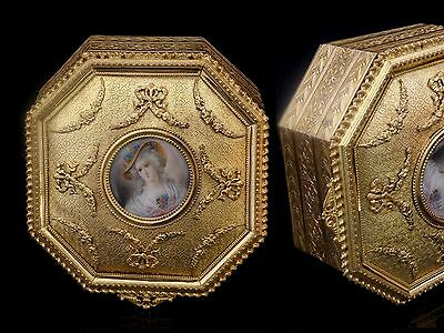 Antique French Box Marie Antoinette Miniature Bronze Gilded