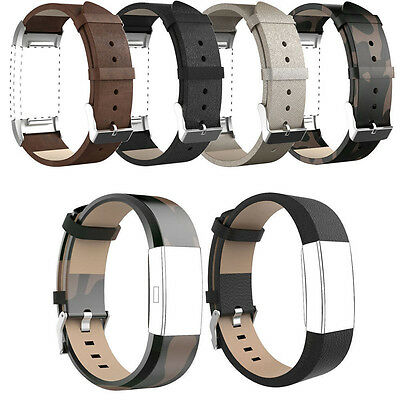 Replacement Leather Watch Band Strap Bracelet Adjustable For Fitbit Charge 2