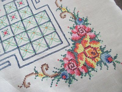 Vintage Tablecloth-Hand Embroidered Tiny Cross Stitch-Unused