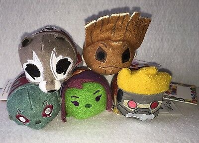 Disney Store Authentic USA Tsum Tsum Guardians Of The Galaxy Set Of 5