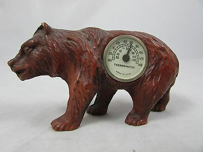 Vintage 1930s Syroco Wood  Bear Figurine Thermometer